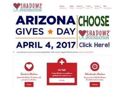 Shadows Foundation / Website Design / SEO / PPC Management / Conversion Optimization / Event Registration / Social Media